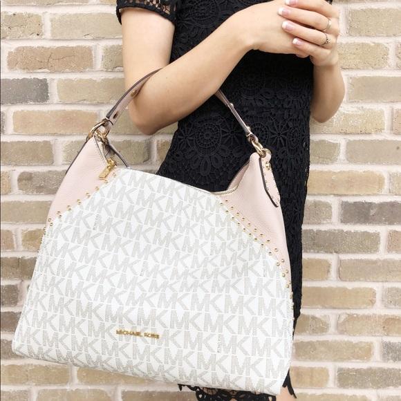 48b21dea68046c Michael Kors Bags   Aria Medium Hobo Mk Vanilla Pink   Poshmark